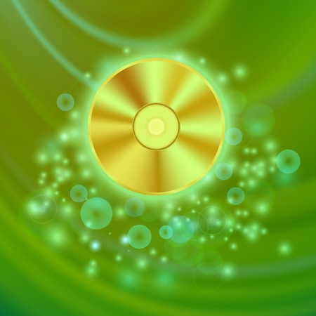 recordable: Compact Disc Isolated on Green Wave Blurred Background Illustration