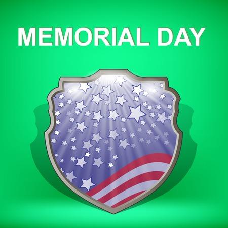 Escudo de América. Memorial Day Celebration Poster. Memorial Day American Flag. Memorial Day Shield Background.