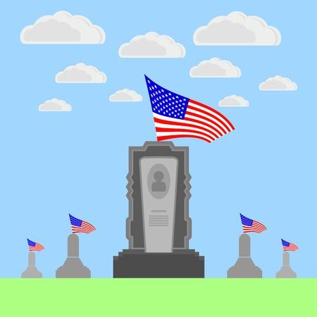Bandera de Estados Unidos que vuela sobre la lápida. Memorial Day Celebración del cartel. Bandera americana del Memorial Day. Día monumento en el cementerio.