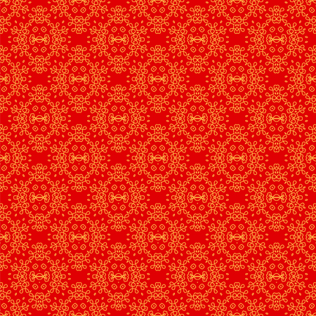 rebirth: Seamless Texture on Red. Element for Design. Ornamental Backdrop. Pattern Fill. Ornate Floral Decor for Wallpaper. Traditional Decor on Background