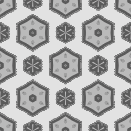 rebirth: Seamless Texture on Grey. Element for Design. Ornamental Backdrop. Pattern Fill. Ornate Floral Decor for Wallpaper. Traditional Decor on Background Illustration