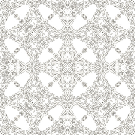 appearance: Seamless Texture on White. Element for Design. Ornamental Backdrop. Pattern Fill. Ornate Floral Decor for Wallpaper. Traditional Decor on Background