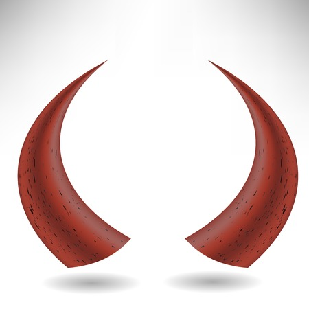 mysterious: Halloween Red Horns Isolated on White Background. Devils Horns Illustration