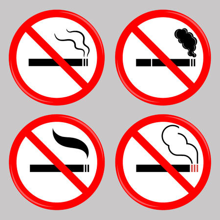 pernicious habit: No Smoking, Cigarette, Smoke and Cigar Prohibited Symbols Isolated on Grey Background