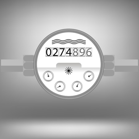 devise: Water Meter Icon Isolated on Grey Background. Devise for Measuring Water Cosumption. Illustration