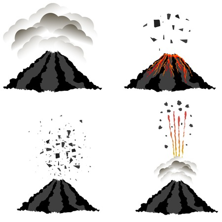 natural phenomena: Volcano Erupting Icons Isolated on White Background. Peak of Mountain. Fiery Crater of Volcano.