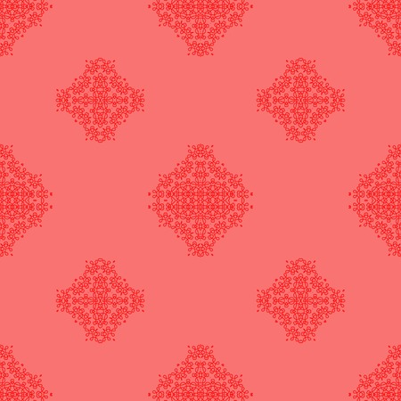 rebirth: Seamless Texture on Pink. Element for Design. Ornamental Backdrop. Pattern Fill. Ornate Floral Decor for Wallpaper. Traditional Decor on Pink Background