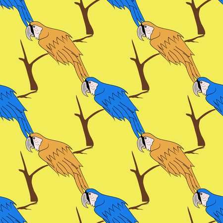 yelllow: Big Orange and Blue Parrot Isolated on Yelllow Background. Bird Pattern