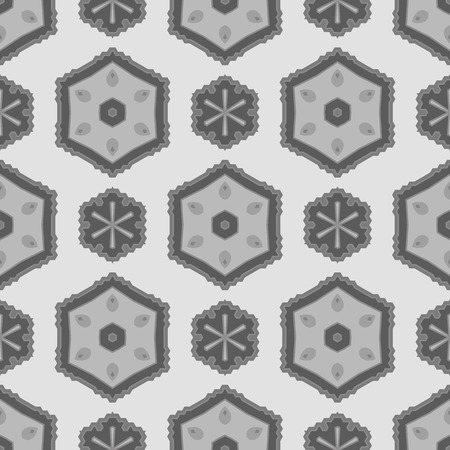 grey background texture: Seamless Texture on Grey. Element for Design. Ornamental Backdrop. Pattern Fill. Ornate Floral Decor for Wallpaper. Traditional Decor on Background Stock Photo