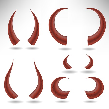 wears: Halloween Red Horns Isolated on White Background. Devils Horns Stock Photo