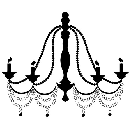 chandelier isolated: Retro Cryctal Chandelier with Candles Silhouette Isolated on White Background Stock Photo