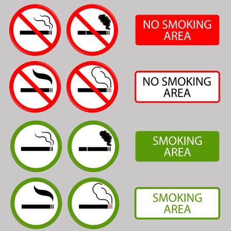 smoldering: No Smoking, Cigarette, Smoke and Cigar Prohibited Symbols Isolated on Grey Background