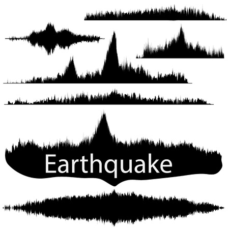 seismograph: Seismogram of different seismic activity record vector illustration, earthquake wave on paper fixing, stereo audio wave diagram background. Earthquake sign. Earthquake seismic activity illustration.