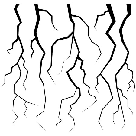 failures: Set of Cracks for Disaster Design Isolated on White Background. Earthquake Failures. Movement of the Earths Crust