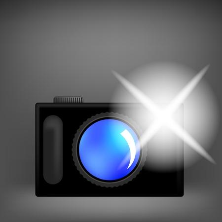 Digital Camera and Flash Isolated on Grey Background Illustration
