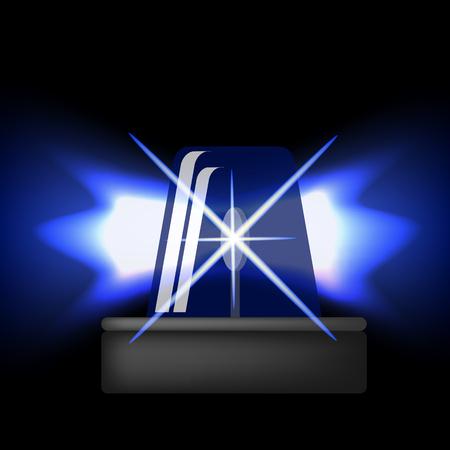 Siren Icon Isolated on Black Background. Blue Emergency Flash. Car Alarm Symbol Illustration