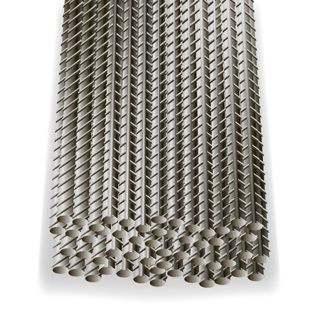 reinforcement: Rebars, Reinforcement Steel Isolated on White Background. Construction Metal Armature. Illustration