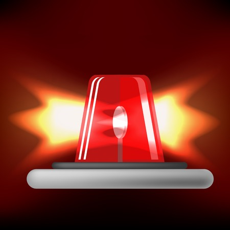 flasher: Siren Icon Isolated on Black Background. Red Emergency Flash. Car Alarm Symbol