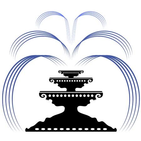ramble: Retro Fountain Silhouette Icon Isolated on White Background