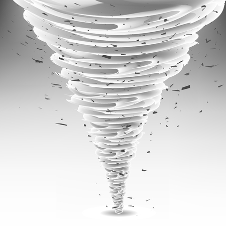 natural forces: Tornado Swirl with Debris Particles. Wheather Disaster. Hurrigane or Cyclon Vortex