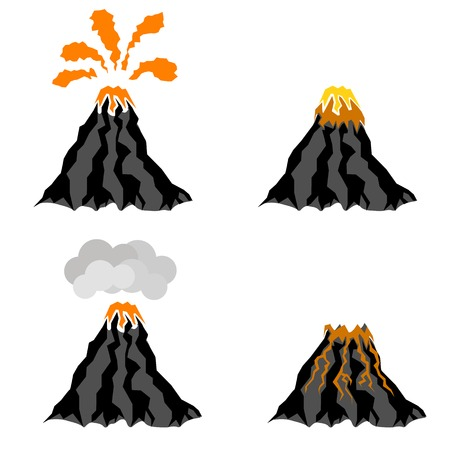 crater: Volcano Erupting Icons Isolated on White Background. Peak of Mountain. Fiery Crater of Volcano.