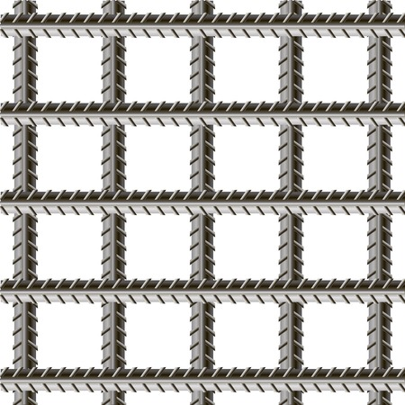 Rebars, Reinforcement Steel Isolated on White Background. Construction Metal Armature. Ilustrace