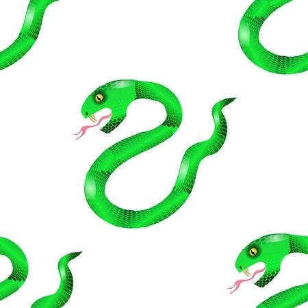 crawling animal: Green Snake Seamless Background. Animal Pattern. Attack Crawling  Danger Predator