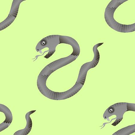 crawling animal: Grey Snake Seamless Background. Animal Pattern. Attack Crawling  Danger Predator Illustration