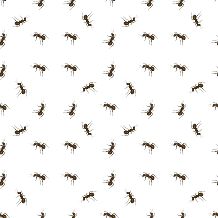 terminator: Seamless Animal Pattern. Ant Isolated on White Background.