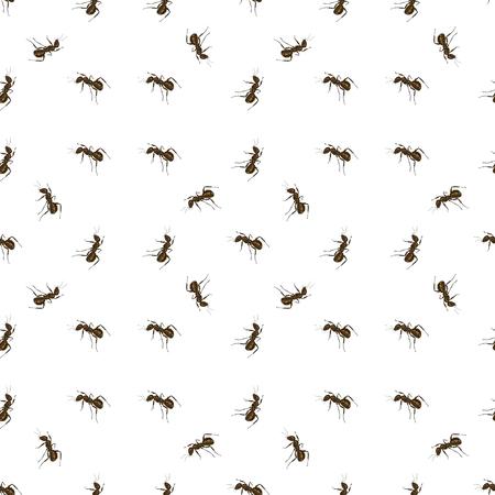 terminator: Seamless Animal Pattern. Ant Isolated on White Background.