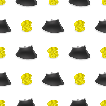 money wallet: Yellow Coins Pattern. Money Wallet Seamless Background.