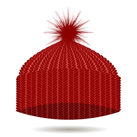 white winter: Red Knitted Cap Isolated on White Background. Winter Hat Illustration