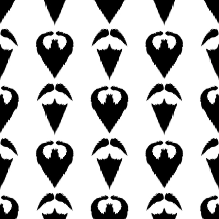 Beard Silhouette Seamless Pattern. Mustache Barber  Background Illustration