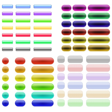 glass buttons: Set of Colorful Glass Buttons Isolated on White Background Illustration