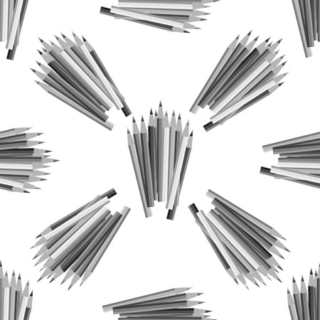 grey pattern: Grey Pencils Isolated on White Background. Grey Pencils Seamless Pattern Illustration