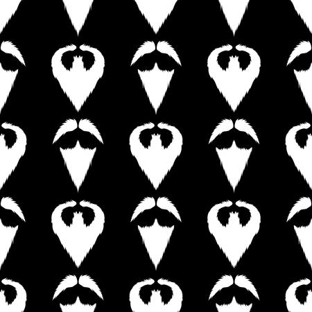 burly: Beard Silhouette Seamless Pattern. Mustache Barber  Background Illustration