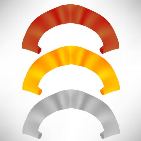 Set di rotoli di carta colorato isolato su sfondo bianco. Nastri colorati.
