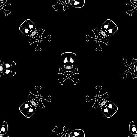 skull and cross bones: Skull Cross Bones Seamless Pattern. Skull Isolated on Dark Illustration