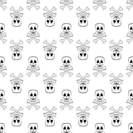 skull and cross bones: Skull Cross Bones Seamless Pattern. Skull Isolated on White
