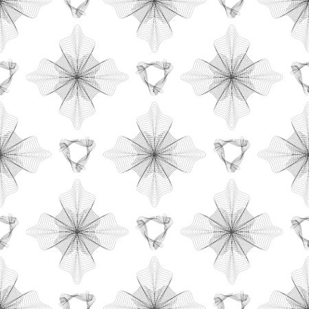 Seamless Pattern. Set of Rosettes Isolated on White Background Illustration