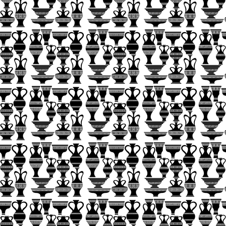 ancient roman: Set of Different Vases Isolated on White Background. Seamless Silhouettes of Amphora Pattern. Illustration