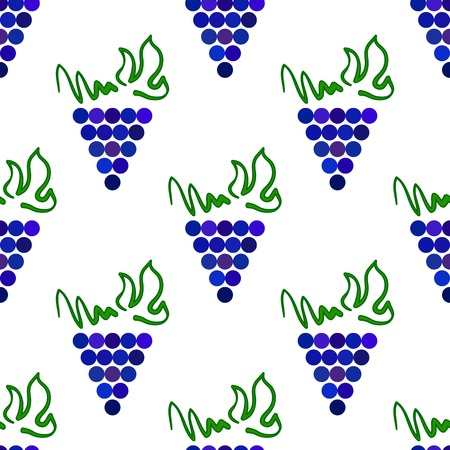 viticulture: Grapes Seamless Pattern. Vine Background. Fruits and Vegetables Texture. Silhouettes of Grapes.