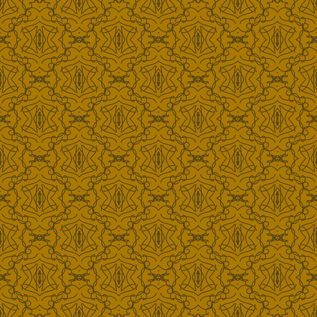 damascus: Seamless Texture on Brown. Element for Design. Ornamental Backdrop. Pattern Fill. Ornate Damascus Decor for Wallpaper. Traditional Decor on Background