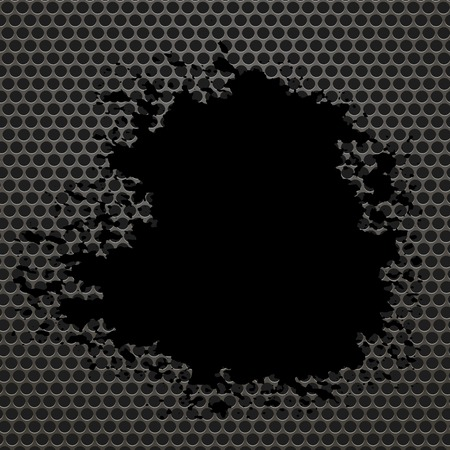 perforated: Metallic Grid Perforated Background. Black Splatters. Grey Metal Circle Pattern