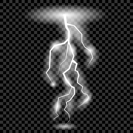 zapping: White Lightning Isolated on Checkered Background for Your Design