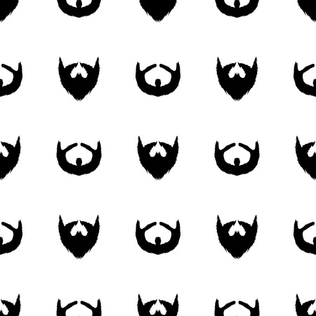 barber background: Beard Silhouette Seamless Pattern. Mustache Barber Background Stock Photo