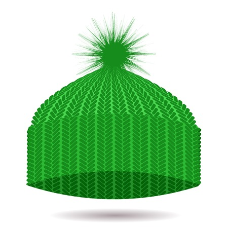 winter hat: Green Knitted Cap Isolated on White Background. Winter Hat