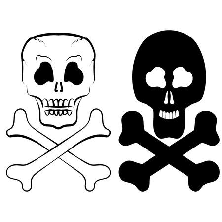 skull and cross bones: Human Skull Cross Bones Isolated on White Background