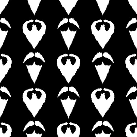 style goatee: Beard Silhouette Seamless Pattern. Mustache Barber Background Stock Photo
