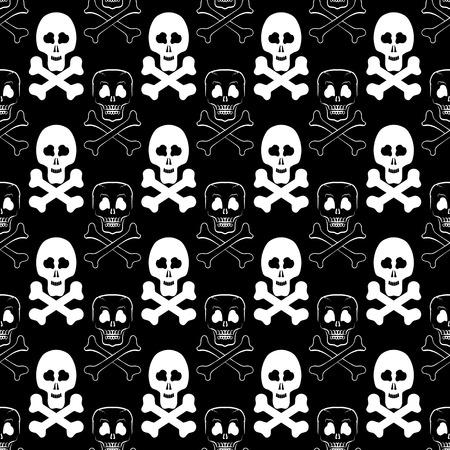 skull and cross bones: Skull Cross Bones Seamless Pattern. Skull Isolated on Dark Stock Photo